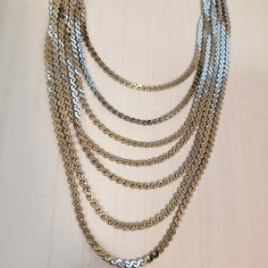 Vintage Necklace Layered Silver Monet Chain